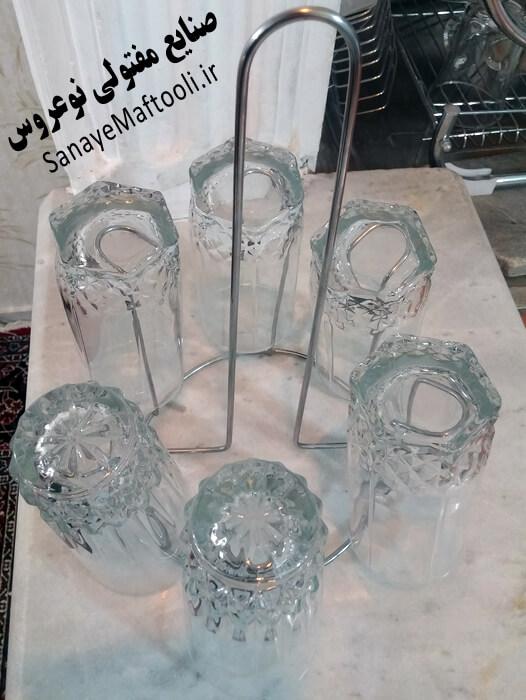 جا لیوانی رومیزی فلزی آهنی گرد 6 تایی نوعروس